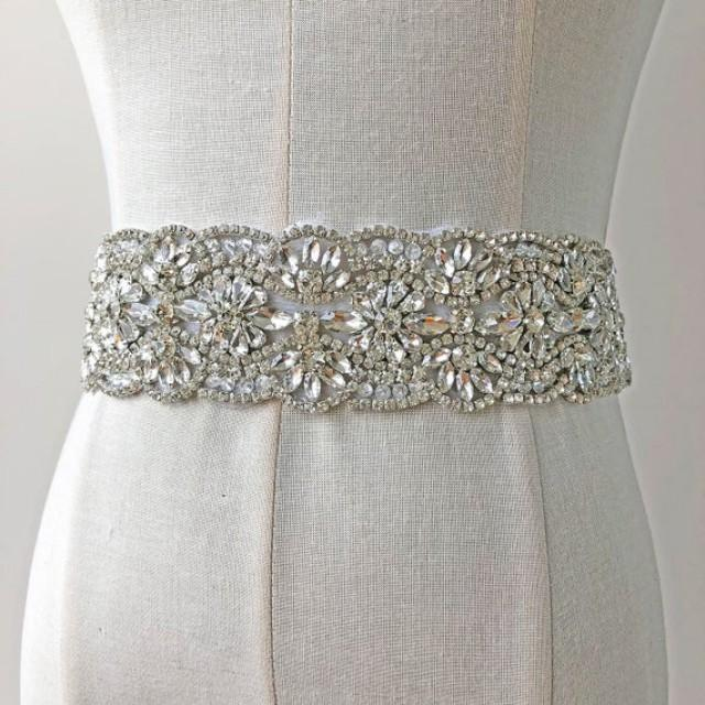 wedding photo - Hot Fixed Rhinestone Sash Belt Applique Crystal Trimming Chunky Bridal Accessories for Wedding Dresses