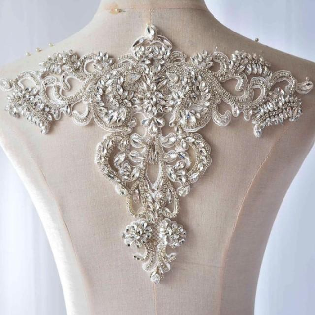 wedding photo - Sparkle Bridal Dress Neckline Applique Embroidery Crystal Trims Sewing Patch for Wedding Dresses, Formal Party Gown