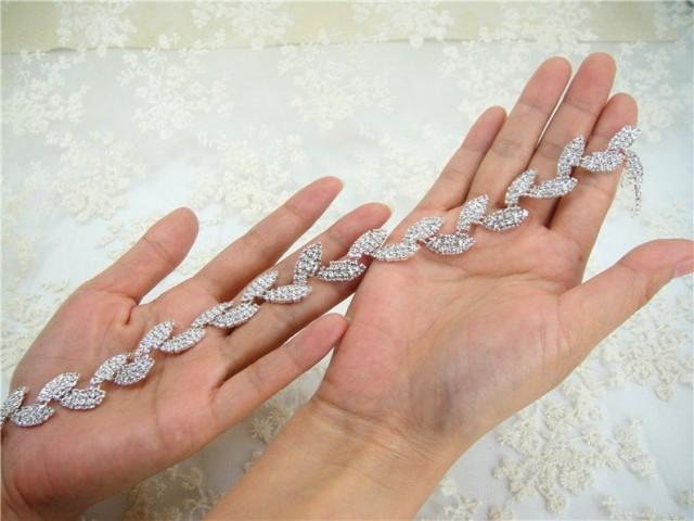 wedding photo - Shiny Rhinestones Applique Leaves Pattern Rhinestone trim Wedding Accessories for Bridal Dress Shoulders Party Sash Belt , DIY garters