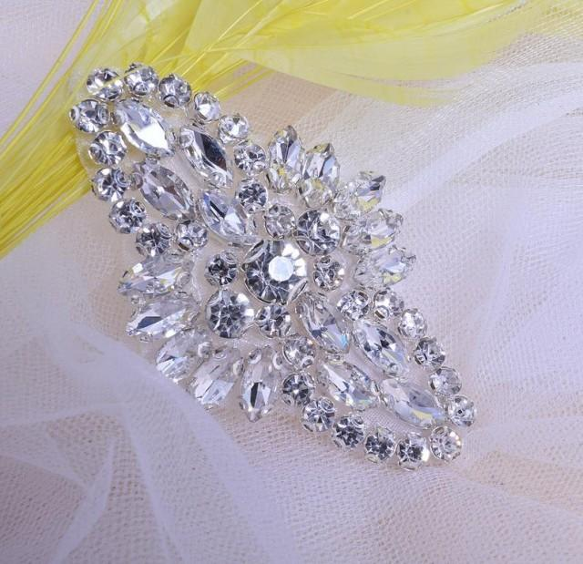 wedding photo - Sparkling Rhinestone Appliques Crystal Motif for Bridal Garter ,Wedding Shoes,Bridal Veil Decor