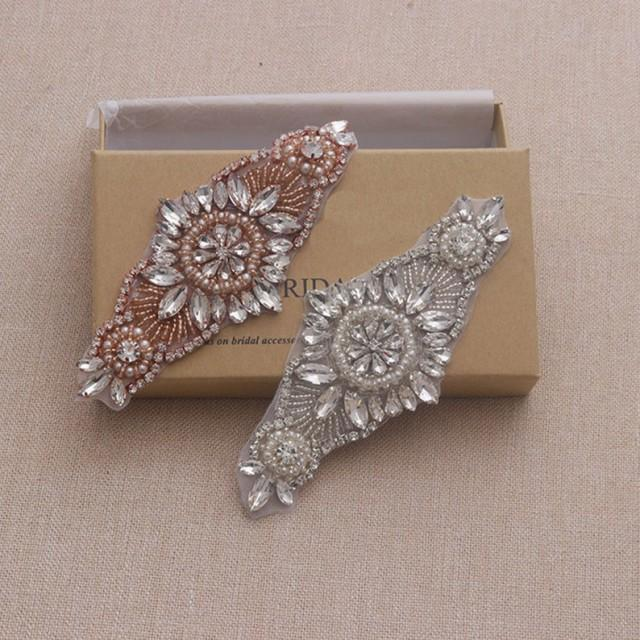 wedding photo - Rose Gold Rhinestone appliques Sparkle Wedding Garter Applique Iron on Crystal patch for Shoes Decor