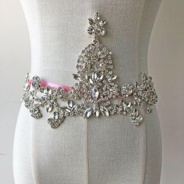 wedding photo - Gorgeous Crystal applique Sashes Belt Shine Rhinestone Diamante Embellished Addition for Wedding Dress Bridal Gown