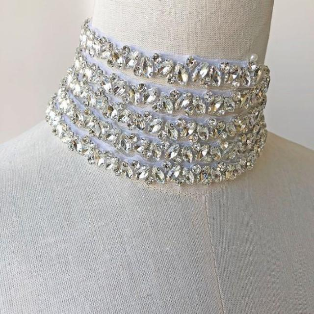 wedding photo - Rhinestone Crystal Trimming Diamante Belt Iron on Appliques for Wedding Dress Straps Sash Belt Headband Custom length