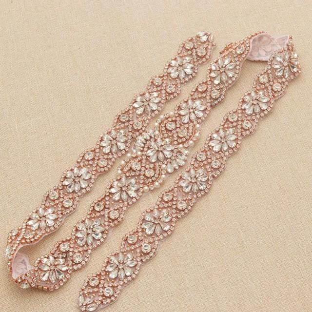 wedding photo - 36 inches Rose Gold Applique Belts Crystal Beads Rhinestone Sash Trimming Hot Fixed for Wedding Dress Bridal Gown