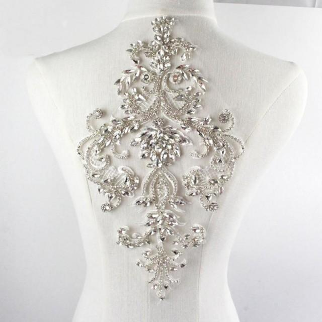 wedding photo - Rhinestone Applique,Clear Crystal Addition ,Beading Patch Sparkling Accents for Bridal Dresses Party Costumes