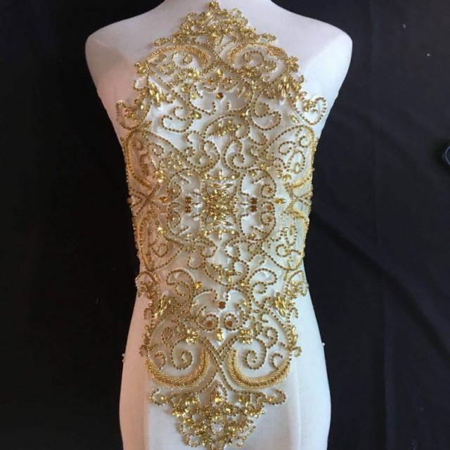 wedding photo - Full Body Gold Rhinestone Bodice Applique Vintage Beading Fringe Craft for Emerging Couture Wedding Dress
