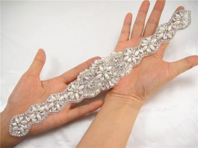 wedding photo - Rhinestone applique Bridal Sash Belt Beaded Pearl Trimming for Wedding Dress ,Evening Gown Crystal Belt