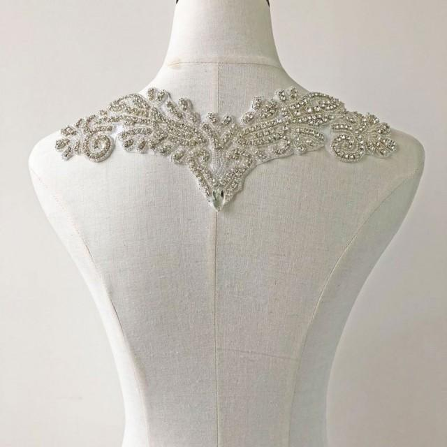 wedding photo - Bling Rhinestone Neckline applique, Hot Glued Crystal Collar, Prom Dress Necklines Diamante Applique for Wedding Gown
