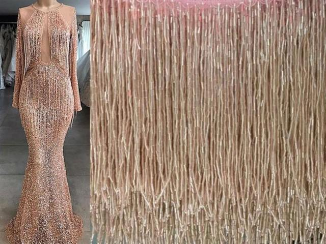 wedding photo - Dangling Beaded Fringe, Beading Dress Fringe, Colorful Dance Hip Scarf Beads Trimming ,DIY Performance Skirt Sold by 1 yard