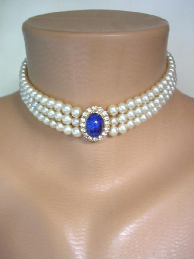 wedding photo - Vintage Pearl Choker, Attwood And Sawyer Choker, Vintage Lapis Lazuli Choker, Blue Peking Glass, Bridal Pearls, A&S Jewelry, Blue Wedding