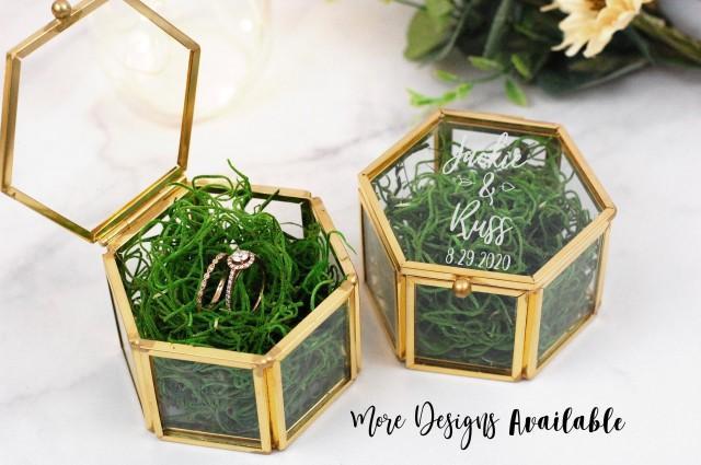 Personalized Glass Ring Box, Gold Ring Box, Laser Engraved Glass Ring Box, Ring Bearer Box, Clear Ring Box, Hexagon Shaped Ring Box, Wedding