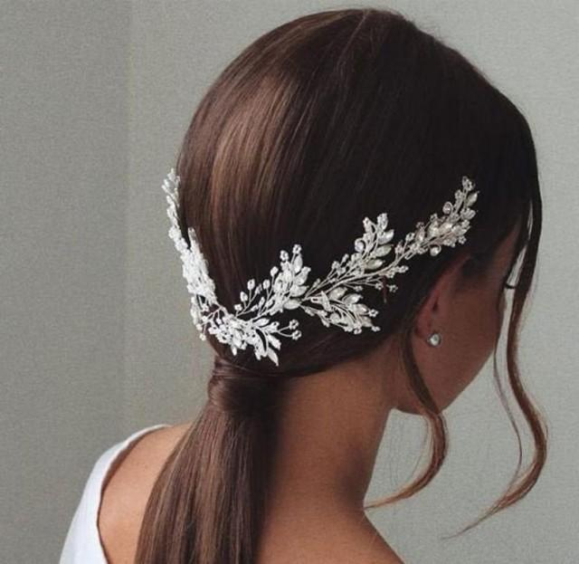 wedding photo - Bridal hair piece for wedding,crystal headpiece for wedding side hair piece, bridal accessories,wedding hair vine, bridal headpiece side,