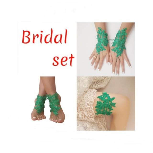 wedding photo - FREE EXPRESS SHIPING, Christmas bridal set, lace garter, lace barefoot sandals, lace fingerless glove, christmas, party, theme, wedding