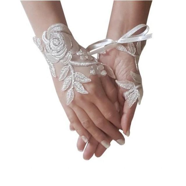 wedding photo - Ivory Wedding gloves bridal gloves lace gloves fingerless gloves ivory gloves guantes french lace silver frame gloves
