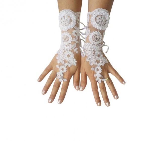 wedding photo - White, lace, gloves, wedding, prom, party, bridal, gloves, party, prom, lace gloves, wedding gloves, white lace gloves,