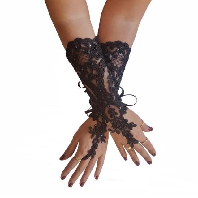 wedding photo - Beaded, black gothic gloves, burlesque, fingerless gloves, fingerloop glove, gothic arm warmers, black lace glove, lace glove, long gloves