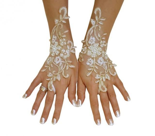 wedding photo - Ivory gold or ivory silver frame wedding gloves bridal gloves lace gloves fingerless gloves ivory gloves bridal accessories party prom