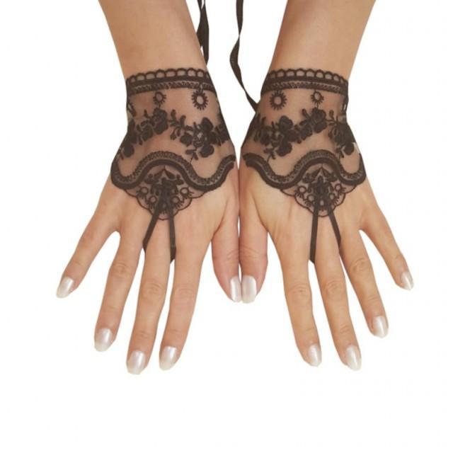 wedding photo - Black or ivory, light beige tulle lace glove embroidery bridal wedding fingerless burlesque body tattoo romantic bridesmaid glove 263
