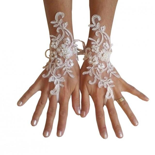 wedding photo - Wedding gloves beaded pearls white or ivory lilac bridal gloves lace gloves fingerless gloves french lace gloves lavender