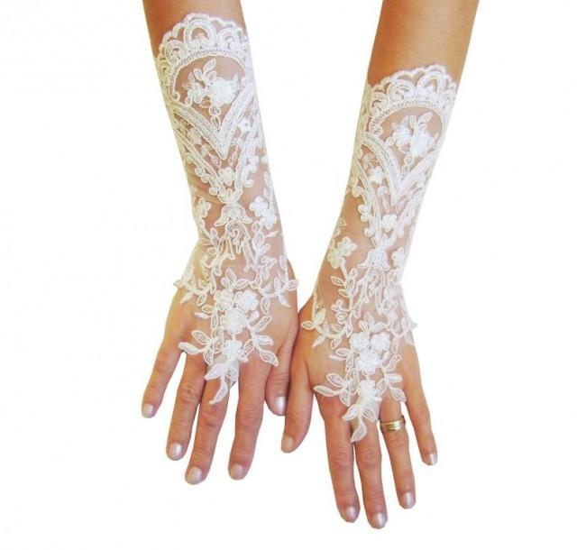 wedding photo - Long Ivory Wedding gloves, bridal gloves, lace gloves, fingerless gloves, ivory gloves, french lace gloves, long glove, lace mittens, silver