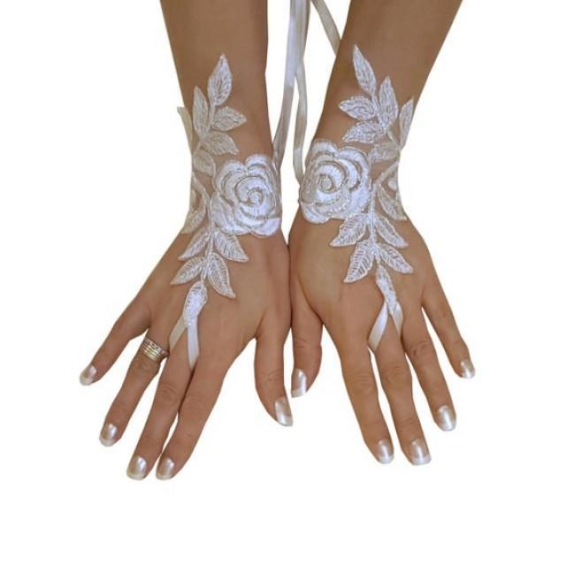 wedding photo - Bridal Glove, ivory, silver-embroidered lace gloves, Fingerless Gloves, cuff wedding bride, bridal gloves, ivory,