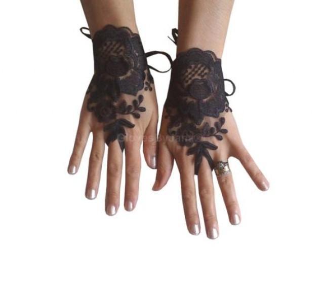 wedding photo - Black tulle, lace glove, embroidery, bridal, wedding, fingerless, burlesque, body, tattoo, romantic, gothic gloves, gothic wedding,