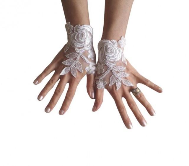 wedding photo - Ivory, or white, Wedding gloves, bridal gloves, lace gloves, fingerless gloves, ivory gloves, french lace gloves, bridal cuffs, gauntlets,