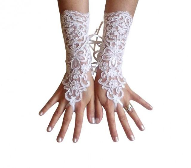 wedding photo - ivory Wedding gloves, bridal lace fingerless, french lace, arm warmers, mittens, cuff, gauntlets, fingerloop, Long lace glove, rustic, prom