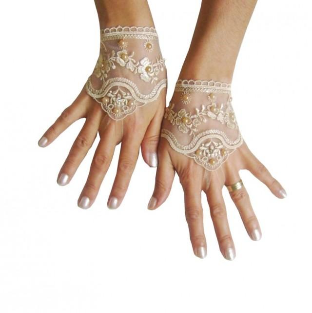 wedding photo - Light beige, Black, white, ivory, pink, Wedding gloves bridal gloves fingerless lace gloves beaded pearl and rhinestone 262