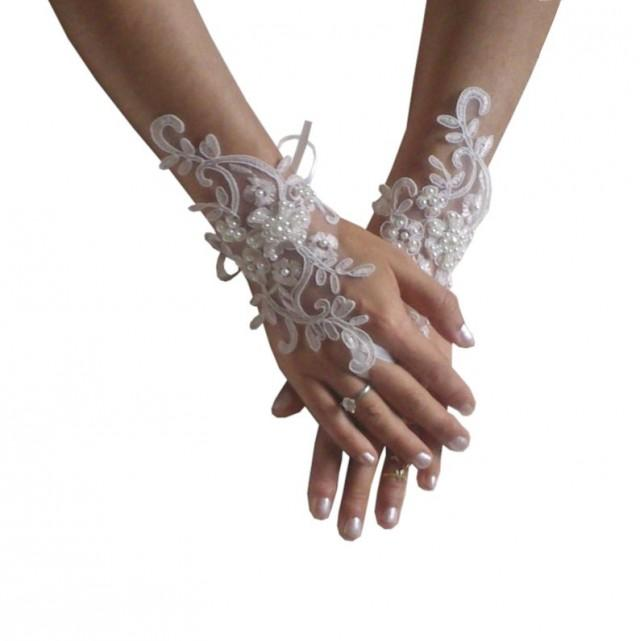 wedding photo - Bridal gloves, ivory lace gloves, fingerless gloves, beaded gloves, bridal accessories, wedding shower, beach wedding, boho wedding