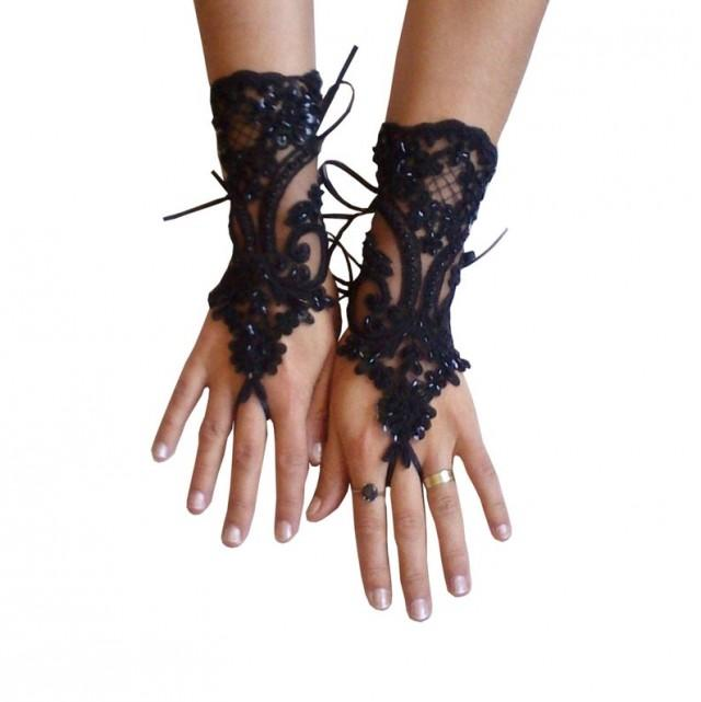 wedding photo - Beaded, goth, gothic lace, black Wedding gloves, Party gloves, bridal gloves, fingerless gloves, french lace, vampire, costume, party, prom
