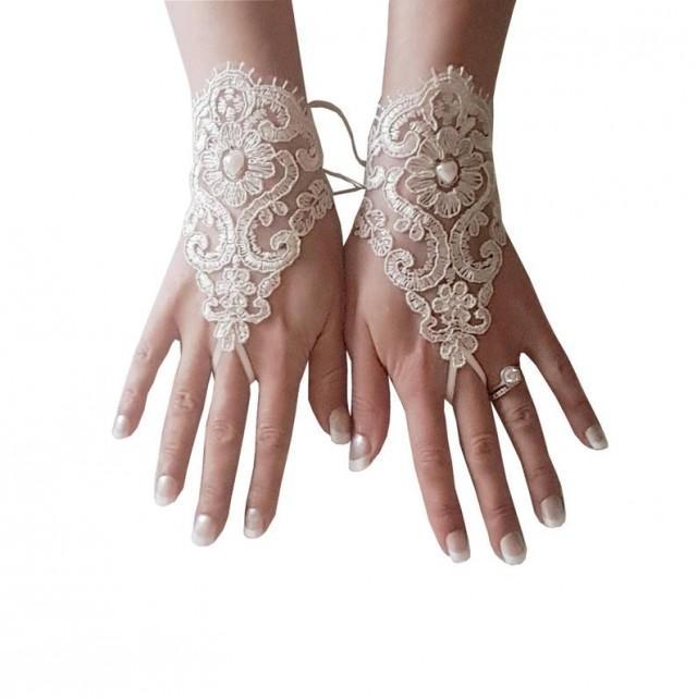 wedding photo - Champagne Bridal glove lace wrist cuff lace gloves wedding prom party rustic wedding wonderland