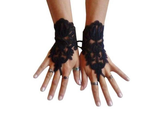 wedding photo - Black lace gloves french lace bridal gloves lace wedding fingerless gothic gloves black camarilla gloves burlesque vampire glove guantes