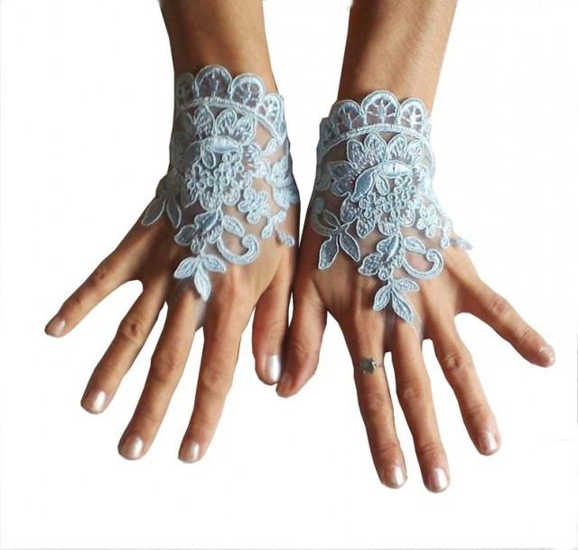 wedding photo - Something blue wedding glove bridal wedding fingerless french lace blue wedding gloves gauntlets guantes rustic elegant