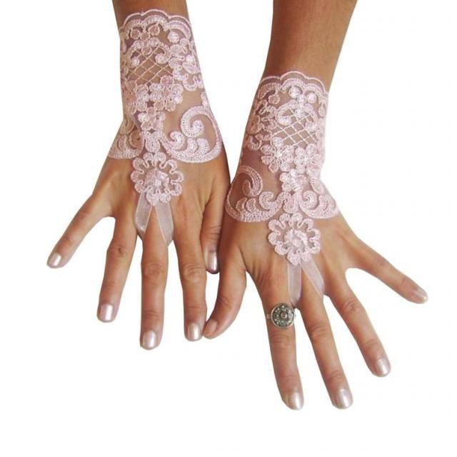 wedding photo - Blush pink Wedding gloves, lace gloves, bridal glove, beach wedding, accessories, bride accessory, prom, party, anniversary
