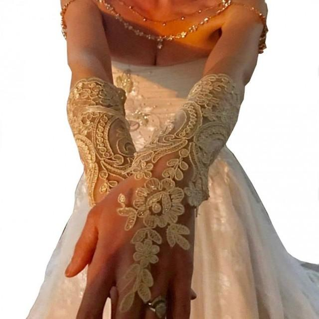 wedding photo - Long ivory or champagne gold Wedding gloves bridal fingerless french lace arm warmers cuff gauntlets fingerloop, Long lace glove