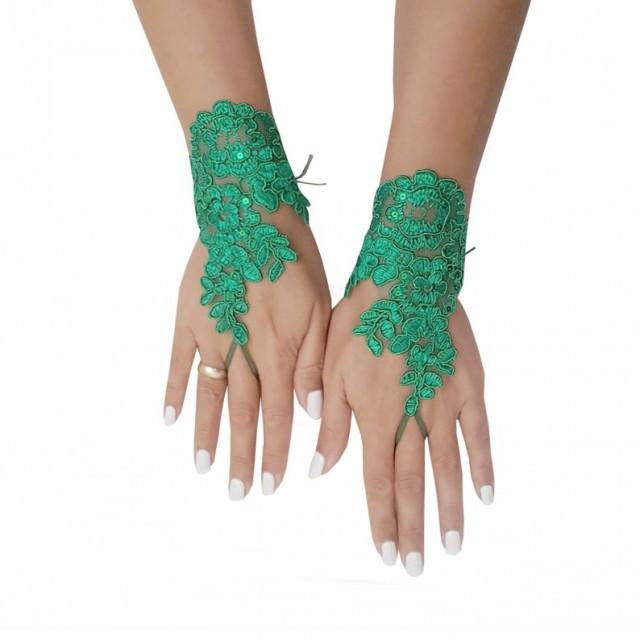 wedding photo - Christmas green lace gloves, fingerless gloves, prom, party, pine green, christmas wedding, christmas theme, bridal gift, yew year gift