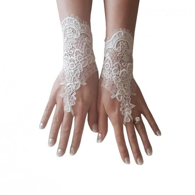 wedding photo - French lace, fingerless glove, bridal wrist, cuff, wedding accessories, bridetobe, worldwide, quality gauntlets