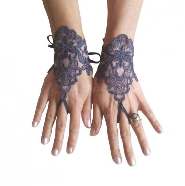 wedding photo - Gothic lace very dark grey smoked gray Wedding gloves bridal gloves fingerless gloves french lace bridesmaid gift tea party