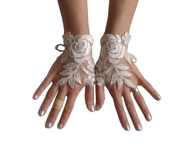 wedding photo - cappuccino Wedding gloves free ship happiness rose bridal gloves fingerless lace gloves Unique design french lace gloves free ship