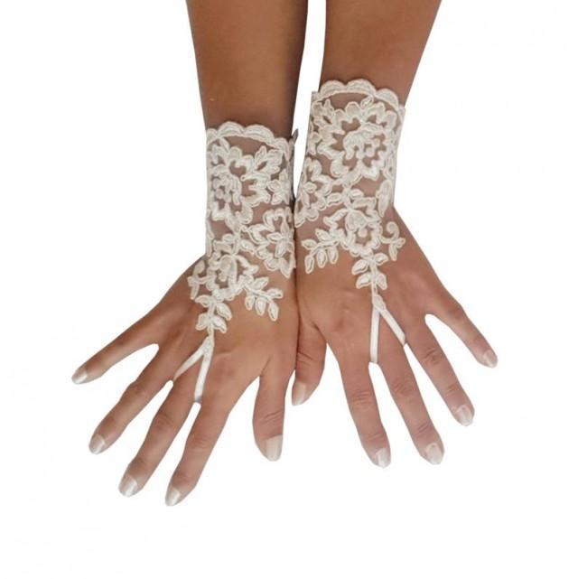wedding photo - Bridal Gloves, Wedding Gloves, Ivory Lace gloves, Fingerless Gloves, wedding, cuffs, wedding cuffs, bride, bridal gloves, Bridal cuffs 240