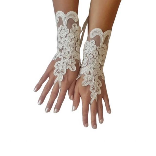 wedding photo - Wedding, gloves, adorned beads Ivory bride glove bridal gloves lace gloves fingerless gauntlets ivory gloves guantes gloves