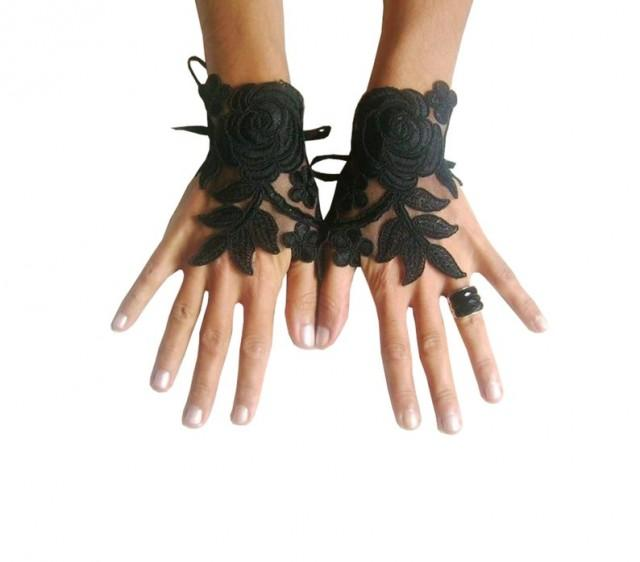 wedding photo - Black Wedding gloves, happiness rose, bridal gloves, fingerless lace gloves, Unique design, french lace gloves, gothic wedding, black