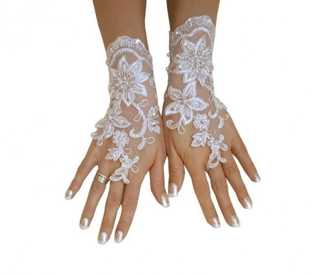 wedding photo - bridal glove, lace wedding glove, fingerless lace, bridesmaid gift, brauthandschuhe, prom, party, anniversary, costume