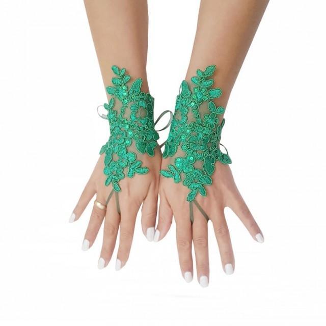 wedding photo - Christmas gloves, fingerless glove, lace gloves, green gloves, christmas gift, christmas wedding, fingerloop gloves, lace wedding gloves,