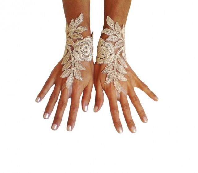 wedding photo - cappuccino Wedding gloves happiness rose bridal gloves fingerless lace gloves cappuccino gloves french lace gloves