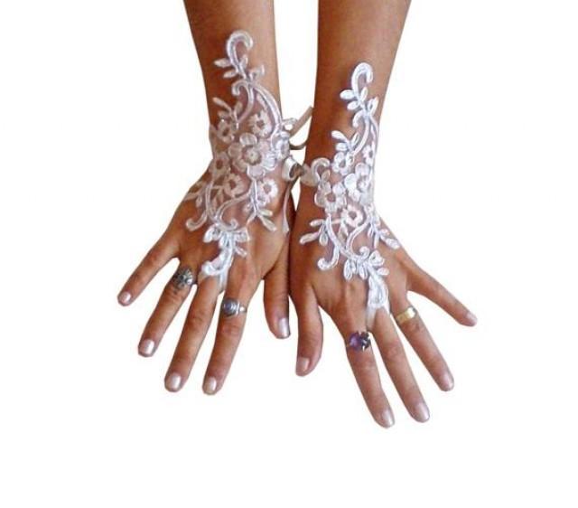 wedding photo - Ivory Wedding gloves bridal gloves lace gloves fingerless gloves ivory gloves guantes french lace silver frame gloves 8639W