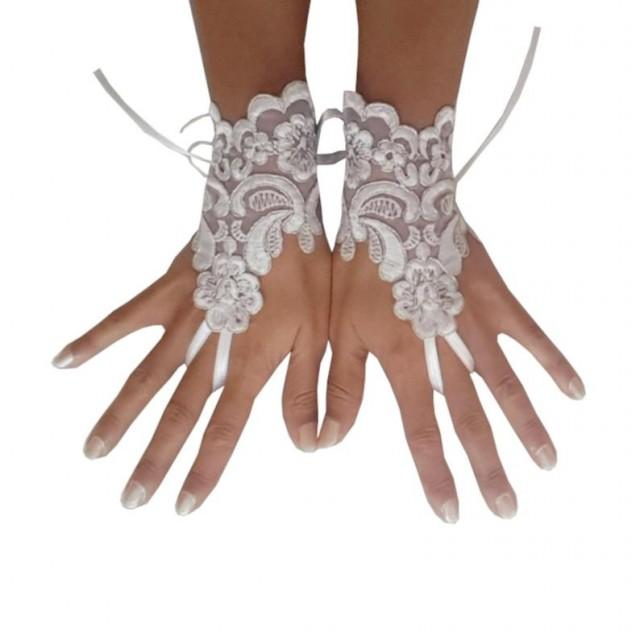 wedding photo - White, silver, lace, glove, bridal, gloves, wedding, bridetobe, fingerless, lace gloves, fingerles gloves