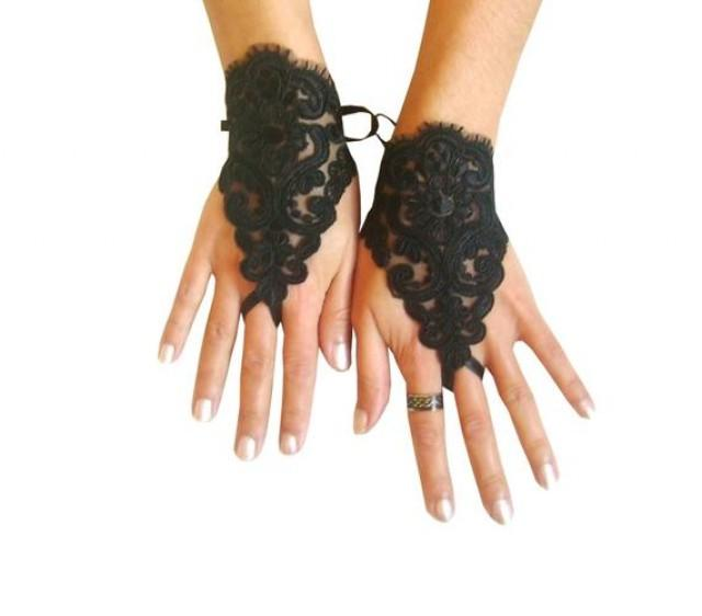 wedding photo - goth gothic lace black Wedding gloves, Party gloves, bridal gloves fingerless gloves french lace vampire