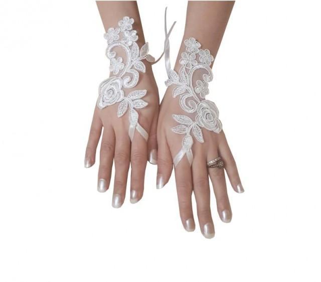 wedding photo - Ivory Wedding gloves bridal gloves lace gloves fingerless gloves ivory gloves french lace gloves